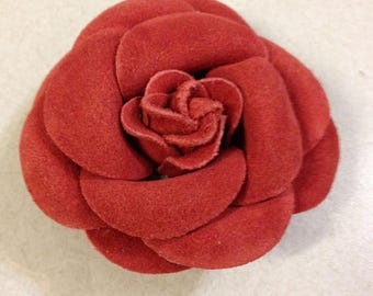 Leather rose suede flower pin brooch reddish vintage accessory jewelry large multi-purpose
