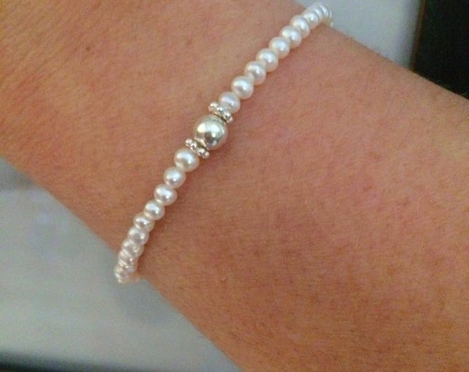 Small white Freshwater seed Pearl STRETCH Bracelet with Sterling Silver beads