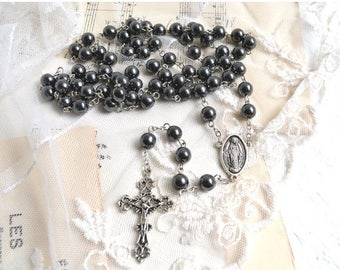 25% SALE Vintage French Black Rosary Beads and Metal Cross Vintage Crucifix
