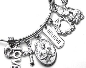 Fertility & Pregnancy Patron Saint St. Gerard Catholic Holy Medal Charm Bangle Bracelet, Stainless Steel, Believe Love Miracles