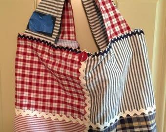 Cotton Stripes & Plaid Shopping Tote