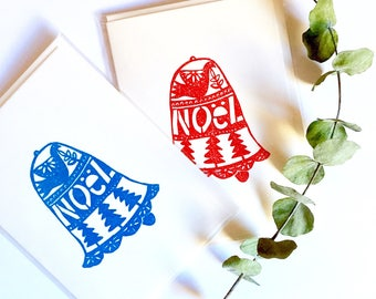 Blue Noel Bell Christmas Card