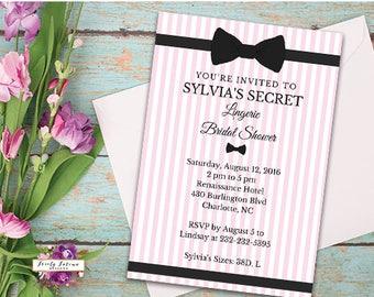 Lingerie Bridal Shower Invitation - Pink and Black Bow - Pink Stripe Bridal Shower - Printable Invitation - Digital Invitation - BEST SELLER