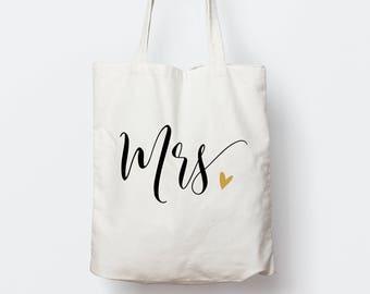 Mrs Tote Bag, Wedding Tote Bag, Bridal Shower Gift, Gift For Bride, Tote Bag for Newlywed, Bridal Bag