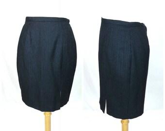 80's Pinstripe Office Skirt Medium / gray wool vintage straight skirt pin striped retro business attire work clothing