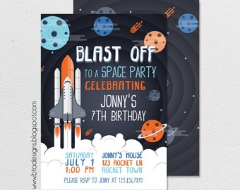 Space Birthday Party Invitation 2, Customized, Digital File