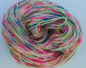 Unicorn: Hand dyed suprwash merino DK rainbow yarn 100g