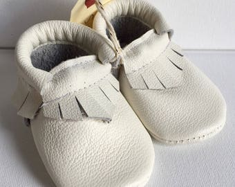 Size 2- White Leather Moccasin (Ready to ship)