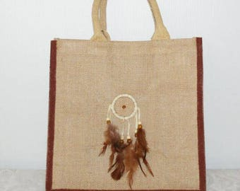 Jute tote bag, beach bag, jute shopping bag, eco bags, Dreamcatchers