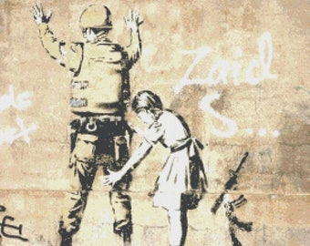 """on the wall palestine Counted Cross Stitch Banksy Pattern instant download street art pattern - 19.71"""" x 18.71"""" - L1011"""