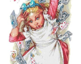 "alice in wonderland Counted Cross Stitch alice Pattern pdf chart embroidery, kreuzstitch, korss - 9.86"" x 29.29"" - L1391"