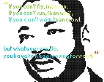 "luther king counted cross stitch luther king pattern pdf file modern cross stitch, needlepoint - 10.14"" x 10.86"" - L1058"