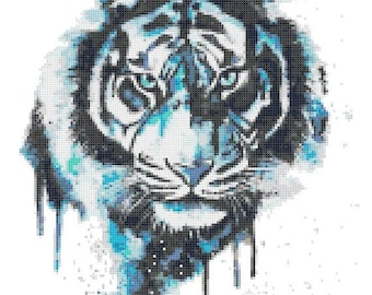 """tiger Counted Cross Stitch watercolor Pattern chart point de croix needlepoint needlework -10.07"""" x 13.07"""" - L1515"""