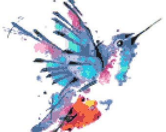 """hummingbird watercolor counted Cross Stitch Pattern chart pdf format embroidery - 9.50"""" x 9.86""""  - L1491"""