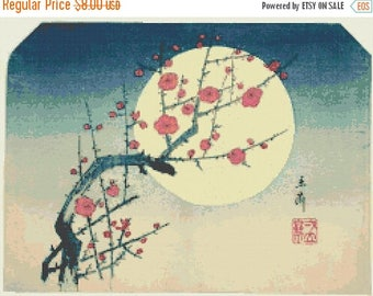 "Hokusai Counted Cross Stitch Pattern PDF  needlepoint, needlework blossom of floreal by  Hokusai - 17.71"" x 13.50"" - L1531"