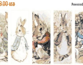 """bunny 3 characters by beatrix potter bookmark - counted Cross Stitch Pattern chart embroidery - 17.71"""" x 6.78""""  - L996"""
