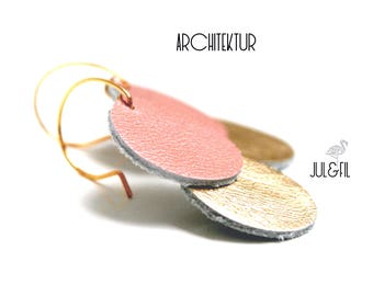 Gold plated Stud Earrings 18K and rose gold leather juletfilarchitektur ©