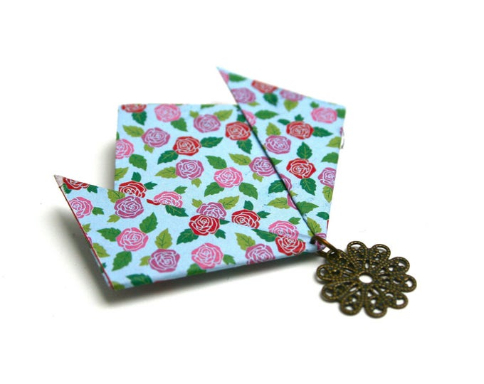 Origami paper lotus brooch Japanese tapes folding JUL & wire watermark print graphics
