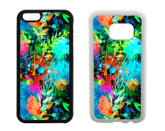 Rubber case iPhone SE 8 7 6 6S Plus, X 5S 5C 5 4S, Samsung Galaxy S8 Plus, S7 S6 Edge, Note 5, S5 S4 abstract floral bumper phone case. R319