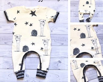 Organic Baby Romper - Monster Baby Romper - Monster Baby Clothes - Vanilla Baby Romper - Baby Boy Clothes - Baby Girl Clothes - 6-9 months