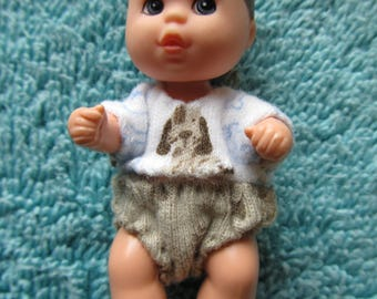 Barbie Krissy/Kristofer Baby Boy Clothes Blue & White Shirt and Tan Diaper Cover with Puppy Theme  - NO DOLL