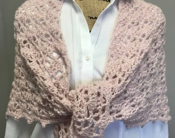 Hand crocheted shawl/shoulder wrap/boho scarf/triangle shawl/wedding shawl/pink shawl