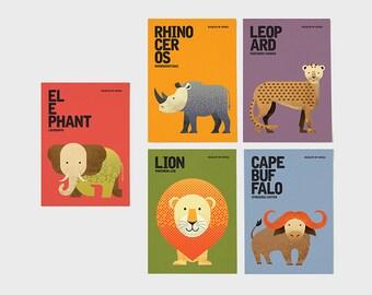 Wildlife of Africa Notecards, Animal Illustrations, Elephant, Rhinoceros, Leopard, Lion, Cape Buffalo, Greeting Cards, Set of 5 Cards