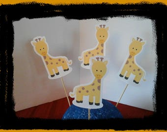 Baby Shower, 1st Birthday, 2nd Birthday, Giraffe cupcake Toppers... Set of 12... Choice of one side or two sided pick