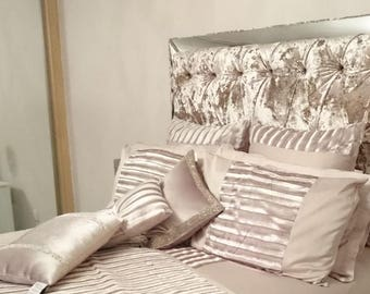 luxury upholstered mirror framed headboard with champagne gold crushed velvet sizes single small