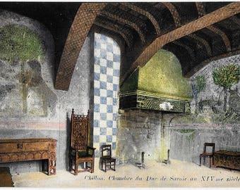 Chateau de Chillon. Chambre du savoie au XIV me siecle,  Switzerland, Antique Circa 1910 Unused Full Color Postcard