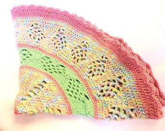 Baby Blanket - Crochet Blanket - Pink/Green Baby Blanket - Crib Blanket - Baby Gift - Baby Shower Gift - Crochet Baby Afghan