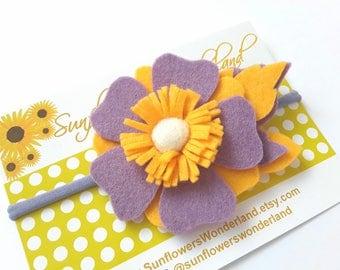 Felt flower headband, Baby Headband, Wool felt flower,  Lavanda felt flower headband, Nylon dainty, Toddler girl headband