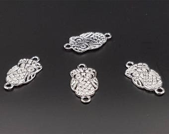 30 connectors owls owls silver 27mm