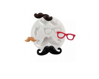 Mini mustaches glasses Silicone mold