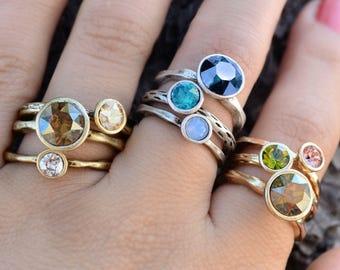 Circle Stacking Rings, Stackable Rings, Stacking Ring Set, Stacking Rings, Stack Rings, Gold Stacking Rings, Ring Set, Boho Ring R1105