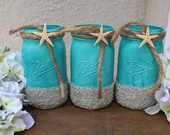 Painted Wine Glasses Beach Decor Mason Jars Amp By Debdebscrafts