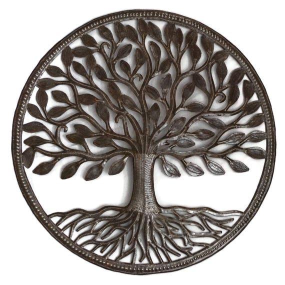 "Organic Tree of Life, Garden Recycle Haitian Metal Wall Art, Hand Hammered Steel, Garden Art, Recycled Metal Barrel 23"" x 23"""