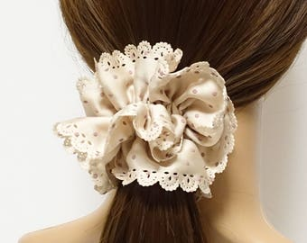 Floral Lace Fringe Polka Dot Hair Elastic Ponytail Holder Women Hair Ties Accessory