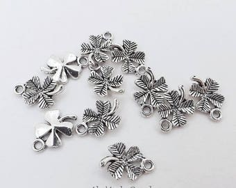 ON SALE 15 Four Leaf Clover Charms 15X10Mm Antique Silver 4 Leaf Clovers