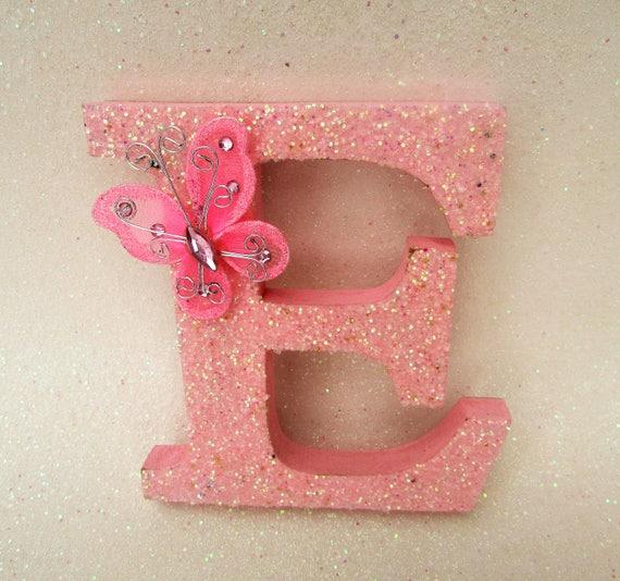Custom name letter Pink glitter E Pink glitter letter