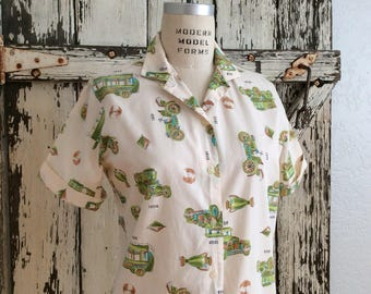 Too cool SANFORIZED 1900s Prize Winning Novelty Print Top Size 36