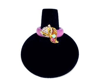 Purple Glass Ring with Gold Fox Embellishment