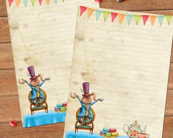 Tea party - DOWNLOAD file - Printable Writing paper - A5 size