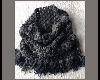 Crochet Chunky Cowl Infinity Scarf with Fringe - Gray- Handmade Crochet - S20