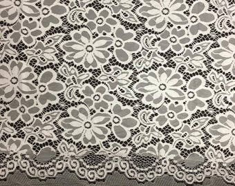 "Off White Stretch Lace Fabric Floral Embroidery Poly Spandex 58"" Wide BTY Wedding Apparel Florence"