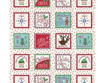 Christmas Fabric Elves Reindeer Santa North Pole Lewis & Irene Cotton Fabric