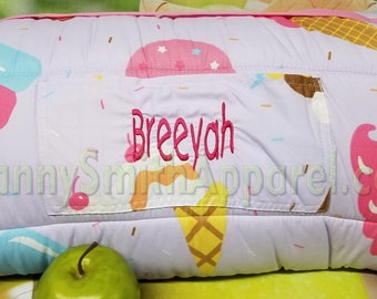 Ice Cream napmat with pillow + blanket attached. Microfiber. FREE PERSONALIZATION. Preschool toddler daycare roll. Sleeping bag. Gift