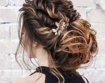 Antique Gold Hair Pin, Pearl Hair Pin, Gold Leaf Hair Accessory, Bridal Hair Accessory, Wedding Hair Clip