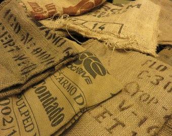 Burlap Coffee Bags, Lot of Seven (7) Jute Burlap Coffee Bags, Gunny Sacks, Rustic Craft Supply, Printed Coffee Sack, Craft Material