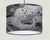 NEW Handmade Grey Woodland British Countryside Landscape Fabric Drum Lampshade
